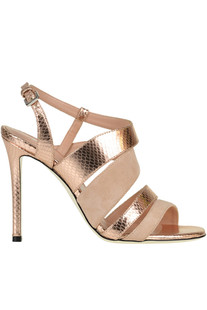 Suede and leather sandals Pollini