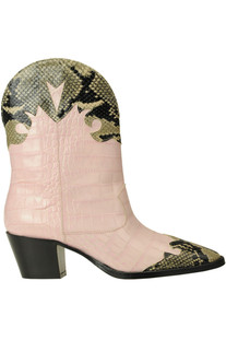Crocodile print leather texan boots Paris Texas