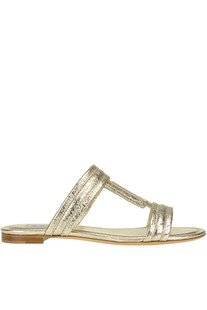 Metallic effect leather T slides Tod's