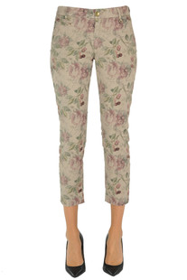 Flower print cotton chino trousers Mason's