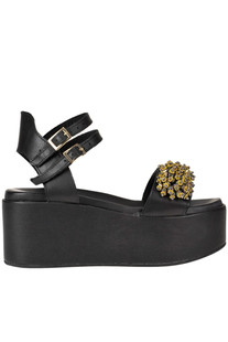 Embellished leather wedge sandals Glamest