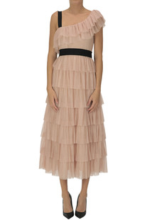 One-shoulder pleated tulle dress RED Valentino