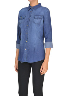 Sequined application denim shirt Peacock Blue