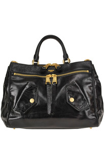 Brushed crackle leather bag Moschino Couture