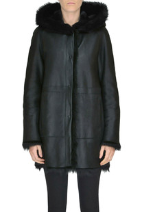 Reversible shearling coat B&W