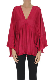 Pleated satin blouse Alberta Ferretti