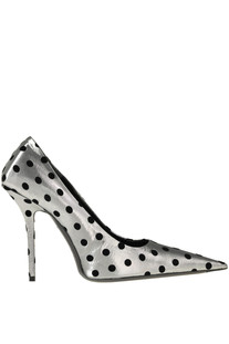 Polka dot metallic effect fabric pumps Balenciaga