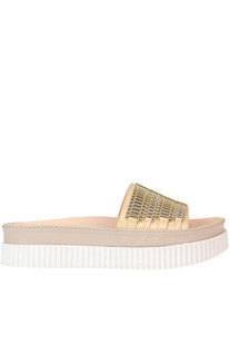 Embellished eco-patent leather slides Kendall+Kylie