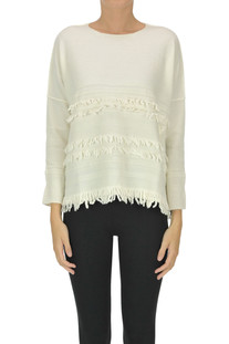 Merinos wool pullover with fringes Archivio B