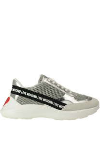 Techno fabric and leather sneakers Love Moschino