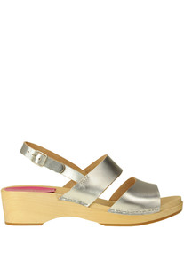 Helena metallic effect leather clogs Swedish Hasbeens