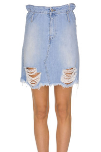 Destroyed denim skirt Motel