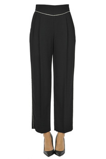 Embellished crepè trousers MSGM