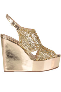 Metallic effect leather wedge sandals Schutz