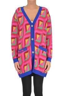 Optical print maxi cardigan Diva
