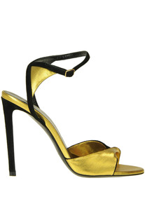 Suede and metallic effect fabric sandals Céline