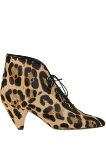 Animal print haircalf lace-up ankle-boots Laurence Decade