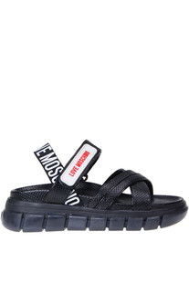 Cut-out leather sporty sandals Love Moschino