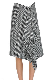 Hound's-tooth print skirt with fringes Balenciaga