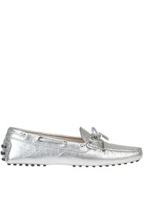 Heaven metallic effect leather loafers Tod's