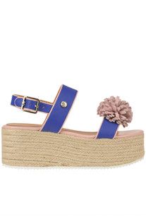 Leather wedge sandals Love Moschino