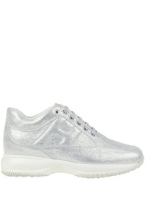Interactive metallic effect leather sneakers Hogan