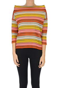 Striped viscose-blend pullover Base Milano