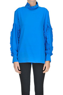 Ruched silk blouse Peacock Blue