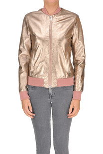Metallic effect leather jacket Sira
