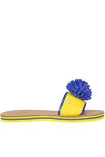 Leather slides with pom pon Love Moschino