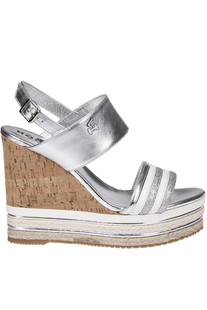 Leather wedge espadrillas Hogan
