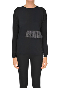 Cotton pullover with fringes Fabiana Filippi