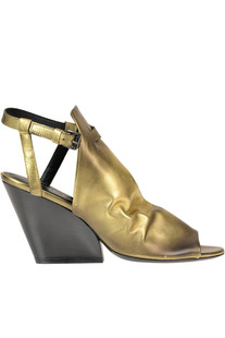 'Tina Tron' metallic effect leather sandals Strategia