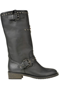 Studded leather biker boots Via Roma 15
