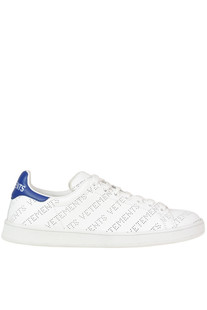 Perforated designer logo leather sneakers Vetements