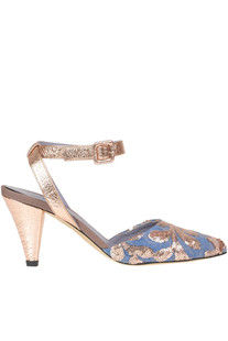 Embellished leather and denim sandals G Di G