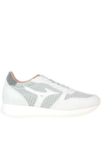 Cut-out fabric and suede sneakers Mizuno