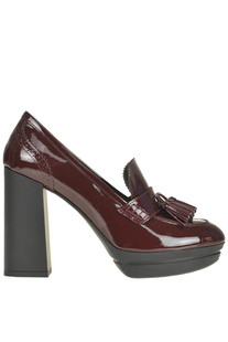 Heeled patent-leather mocassins Hogan