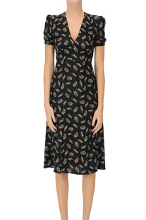 Printed silk midi dress HVN
