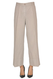 Cropped cotton and linen trousers Aspesi
