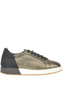 Metallic efftect leather sneakers Brunello Cucinelli