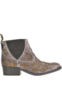Embellished texan velvet ankle-boots Maliparmi