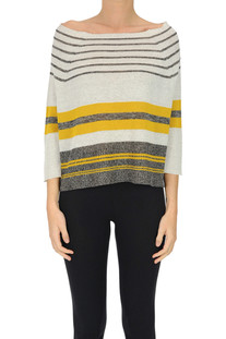 Striped linen-blend pullover Base Milano