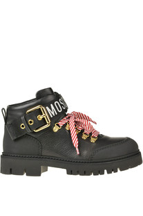 Leather lace-up boots with designer logo Moschino Couture