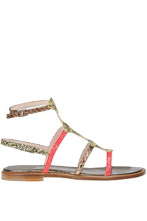 Reptile print effect leather sandals Rose's Roses