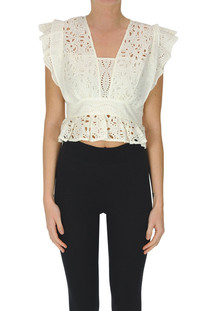 Cropped sangallo lace top Ba&sh