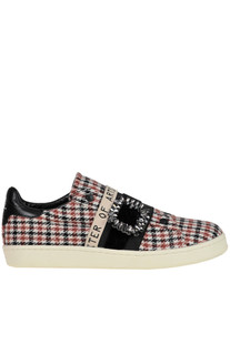 Hound's-tooth print fabric slip-on sneakers MOA Master of Arts
