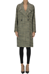 Houndstooth print double breasted coat Aspesi