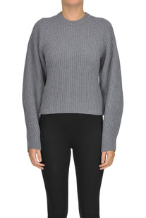 Cropped ribbed knit pullover Theory