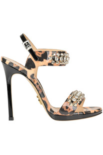 Embellished animal print sandals Luciano Padovan